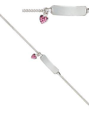 SIGO Schildband Herz 925 Sterling Silber mit rosa Glasstein 14 cm Gravur ID Armband