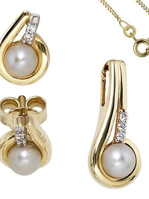 SIGO Schmuck-Set 333 Gold Gelbgold Perlen Zirkonia Ohrringe und Kette 42 cm