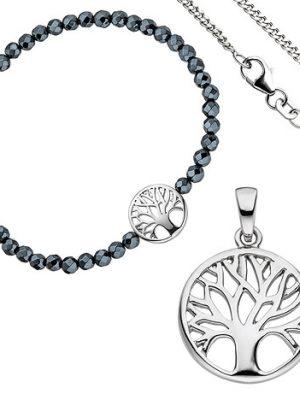 SIGO Schmuck-Set Baum Lebensbaum Weltenbaum 925 Silber Armband Anhänger Kette 38 cm