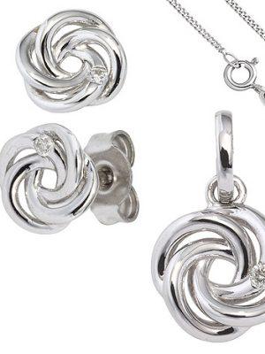 SIGO Schmuck-Set Knoten 585 Gold Weißgold 3 Diamanten Ohrringe und Kette 42 cm