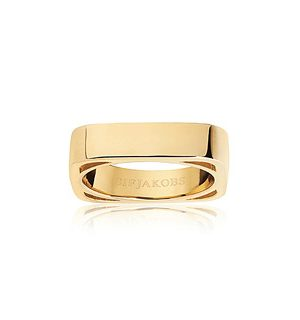 Sif Jakobs Ring 925 Silber Matera Pianura 18k Gelbgold plattiert, 56 / 17,8