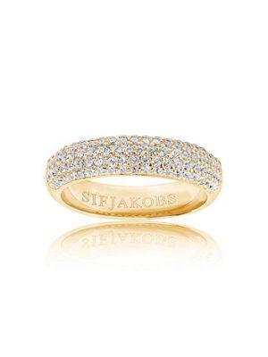Sif Jakobs Ring 925 Silber Melazzo 18k Gelbgold plattiert mit weißen Zirkonia, 56 / 17,8
