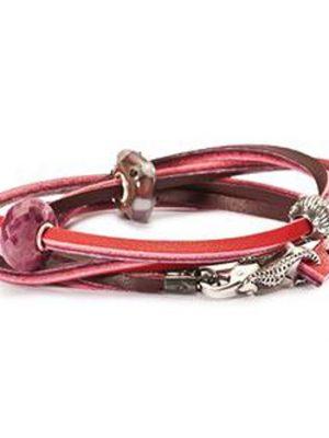 Trollbeads Armband 925 Silber rot bordeaux 41 cm