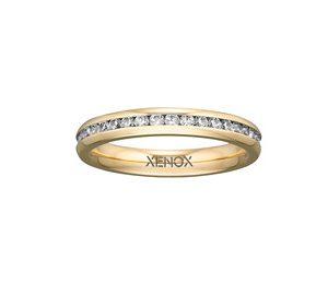 XENOX Ring Edelstahl Zirkonia IP gelbgold, 48 / 15,3