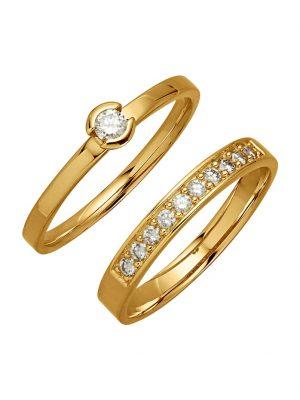 2tlg. Ring-Set Diemer Diamant Gelb