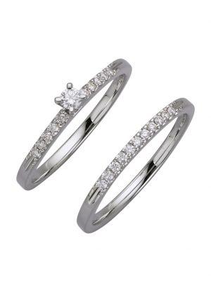 2tlg. Ring-Set mit Brillanten Diemer Diamant Silberfarben