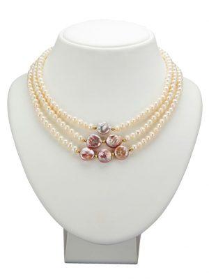 3rhg. Collier Diemer Perle Multicolor