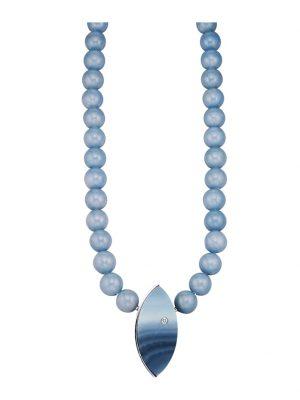Angelit-Collier mit Achat-Lagenstein Diemer Farbstein Blau