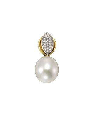 Anhänger 585/- Gelbgold Perle Brillanten 585/- Gold Süßwasserzuchtperle weiß 2,18cm Glänzend 0,09ct Orolino gelb