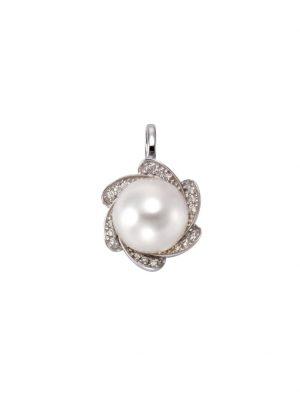 Anhänger 585/- Weißgold Perle Brillanten 585/- Gold Süßwasserzuchtperle weiß 1,9cm Glänzend 0,09ct Orolino Silbergrau