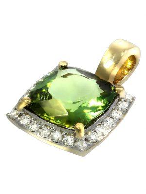 Anhänger 750/- Gold Turmalin grün Turmalin 1,5cm Glänzend 1,35ct. Creazione Bijoux gelb