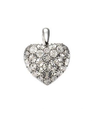 Anhänger 925/- Sterling Silber Diamant weiß Diamant 2,4cm Glänzend 0,07ct. Celesta weiß
