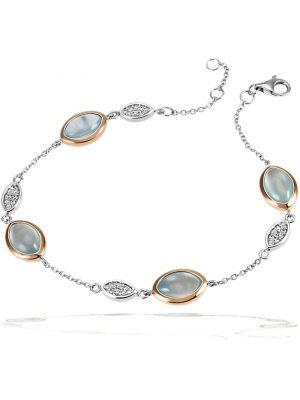 Armband 925/- Silber 32 Zirkonia 4 Aquamarin Goldmaid silberfarben
