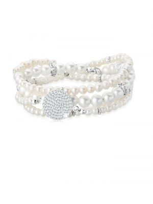 Armband Layering Perle Swarovski® Kristalle 925 Silber Elli Premium Weiß
