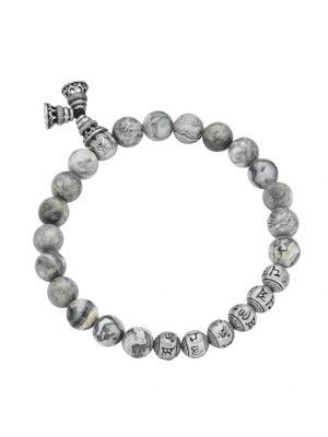 Armband graue Achatkugeln matt, tibetische Glücks-Symbole, Silber 925 Giorgio Martello Grau