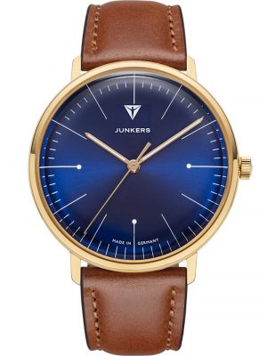 Armbanduhr 100 Jahre Bauhaus Lederband Braun 38 mm Junkers Blau