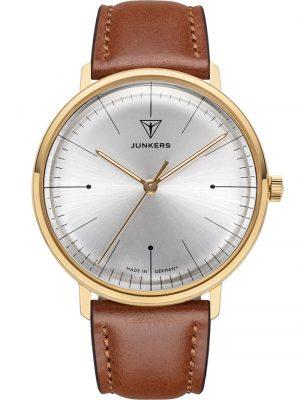 Armbanduhr 100 Jahre Bauhaus Lederband Braun 38 mm Junkers Silberfarben
