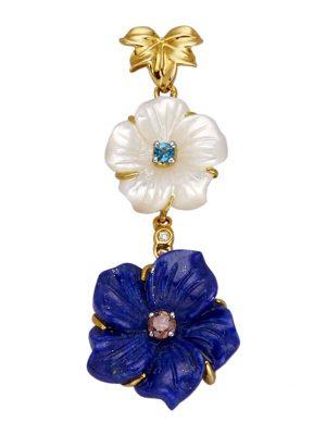 Blüten-Anhänger Diemer Farbstein Blau