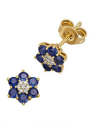 Blumen-Ohrstecker mit Saphiren und Diamanten Diemer Farbstein Blau
