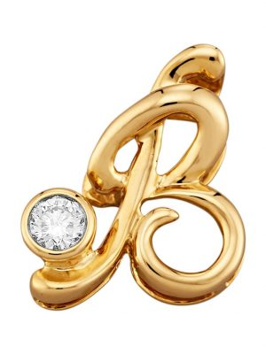 Buchstaben-Anhänger 'B' Diemer Diamant Gelbgoldfarben