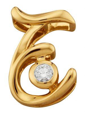 Buchstaben-Anhänger 'E' Diemer Diamant Gelbgoldfarben