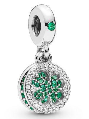 Charm-Anhänger -Blendendes Kleeblatt- Pandora Silberfarben