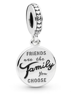 Charm-Anhänger -friends are the family you choose- Pandora Silberfarben