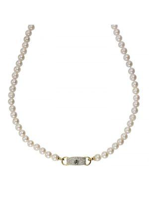 Collier 585/- Gelbgold Perlen 585/- Gold Akoyaperle Akoyaperle 45cm Glänzend 0,19ct. Diamonds by Ellen K. gelb