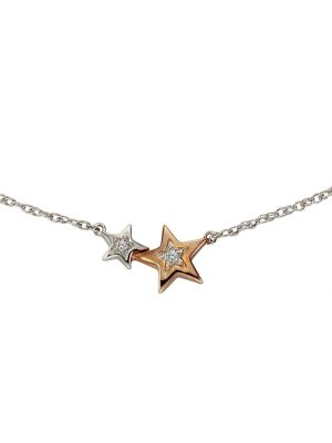 Collier 925/- Sterling Silber Diamant weiß Diamant 45cm Bicolor 0,005 Celesta mehrfarbig