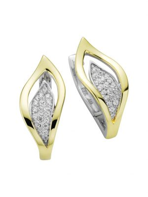 Creolen 925/- Sterling Silber Zirkonia weiß 2,3 Glänzend LaSagette gelb