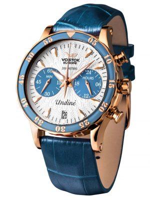Damen-Chronograph mit 3 Armbändern Vostok Europe Silberfarben