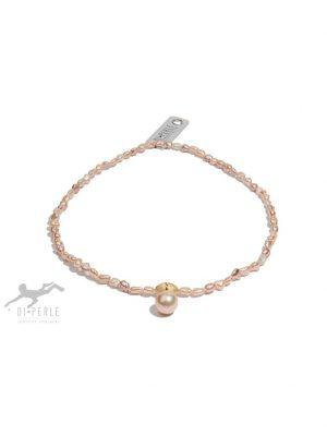 Damen Perlenschmuck 925 Silber Süsswasser Perlen Collier ( 45 cm ) DI PERLE naturfarbe