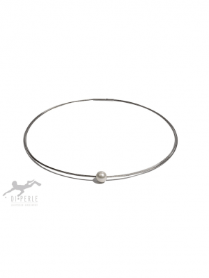 Damen Perlenschmuck Edelstahl Süsswasser Perlen Halsreif ( 45 cm ) DI PERLE weiß