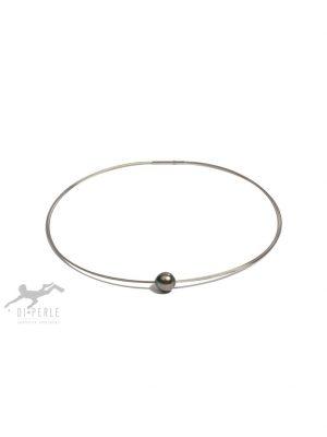 Damen Perlenschmuck Edelstahl Tahiti Perlen Halsreif ( 45 cm ) DI PERLE silber
