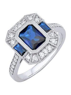 Damenring Diemer Silber Blau