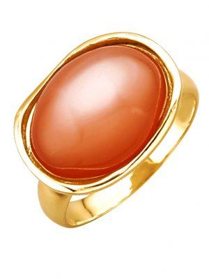 Damenring in Gelbgold 585 Diemer Farbstein Orange
