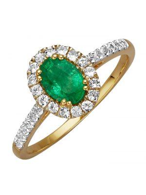 Damenring mit Smaragd Diemer Farbstein Grün