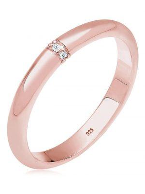Diamore Ring Klassisch Diamant (0.02 ct.) 925 Sterling Silber Diamore Rosegold