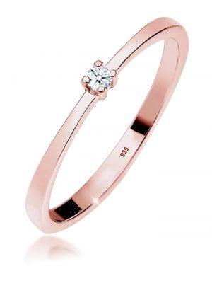 Diamore Ring Verlobung Solitär Diamant (0.03 ct.) 925 Silber Diamore Rosegold