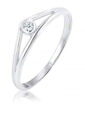 Diamore Ring Verlobungsring Geo Diamant (0.03 ct.) 925 Silber Diamore Silber