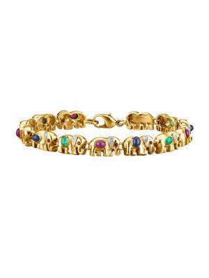 Elefanten-Armband in Gelbgold Diemer Farbstein Multicolor