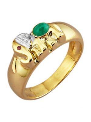 Elefanten-Ring in Gelbgold Diemer Farbstein Multicolor