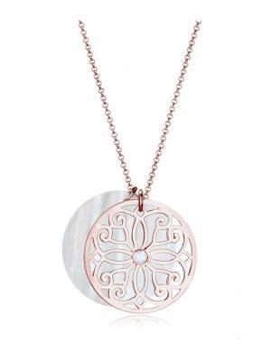 Elli Premium Halskette Ornament Perlmutt Topas 925 Sterling Silber Elli Premium Rosegold