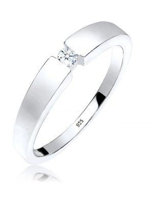 Elli Premium Ring Klassisch Bandring Diamant 0.06 ct. 925 Silber Elli Premium Weiß
