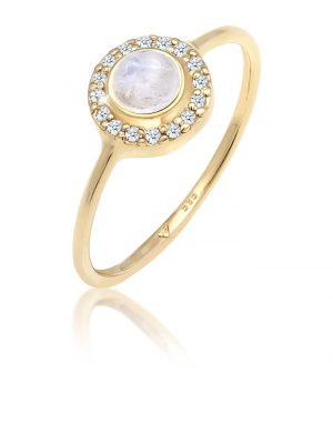 Elli Premium Ring Verlobung Mondstein Diamant (0,14 ct) 585 Gelbgold Elli Premium Gold