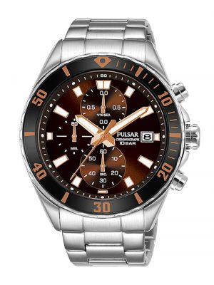 Herren-Chronograph Braun Pulsar Braun
