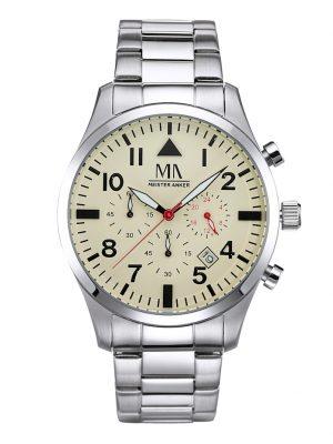 Herren-Chronograph Uhr Meister Anker Silberfarben