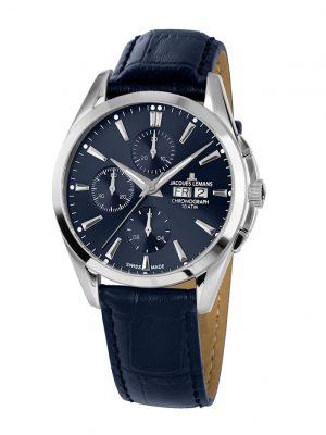 Herren-Uhr-Automatik-Chronograph Jacques Lemans Blau