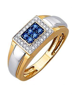 Herrenring mit Brillanten Diemer Diamant Gelbgoldfarben::Weißgoldfarben