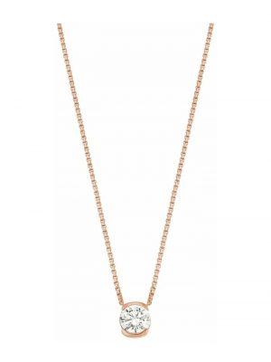 Kette mit Anhänger Damen Halskette von JOOP!, Silber 925 rosévergoldet, Zirkonia JOOP! Rosefarben